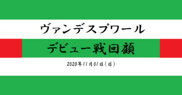 ヴァンデスプワール デビュー戦回顧(2020/11/01)